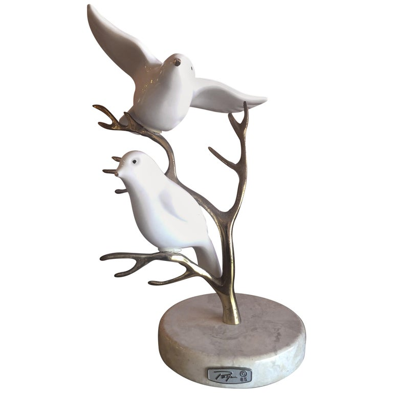 Brass Tree with Ceramic Birds Table Sculpture by Bijan For Sale
