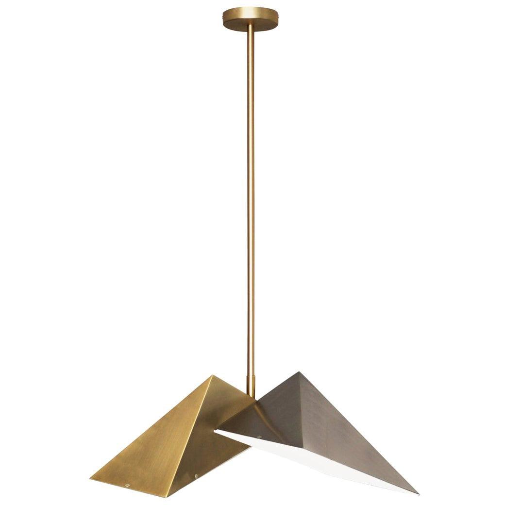 "Brass ""Triangular Prism II"" Pendant Lamp, Square in Circle"