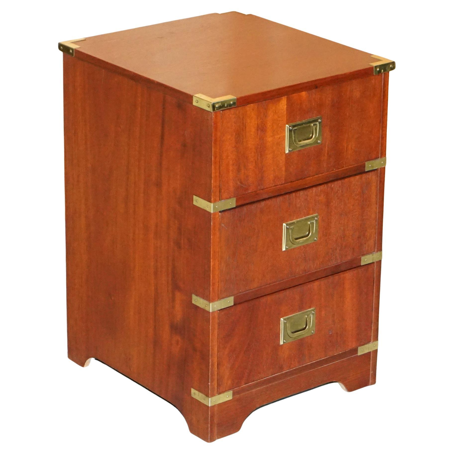 Brass Trim Military Campaign Side Table Size Small Chest of Drawers Bedside Lamp
