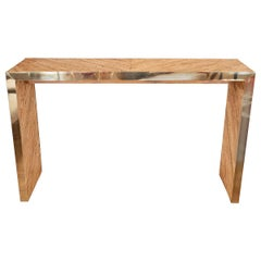 Brass Trimmed Bamboo Waterfall Console Table