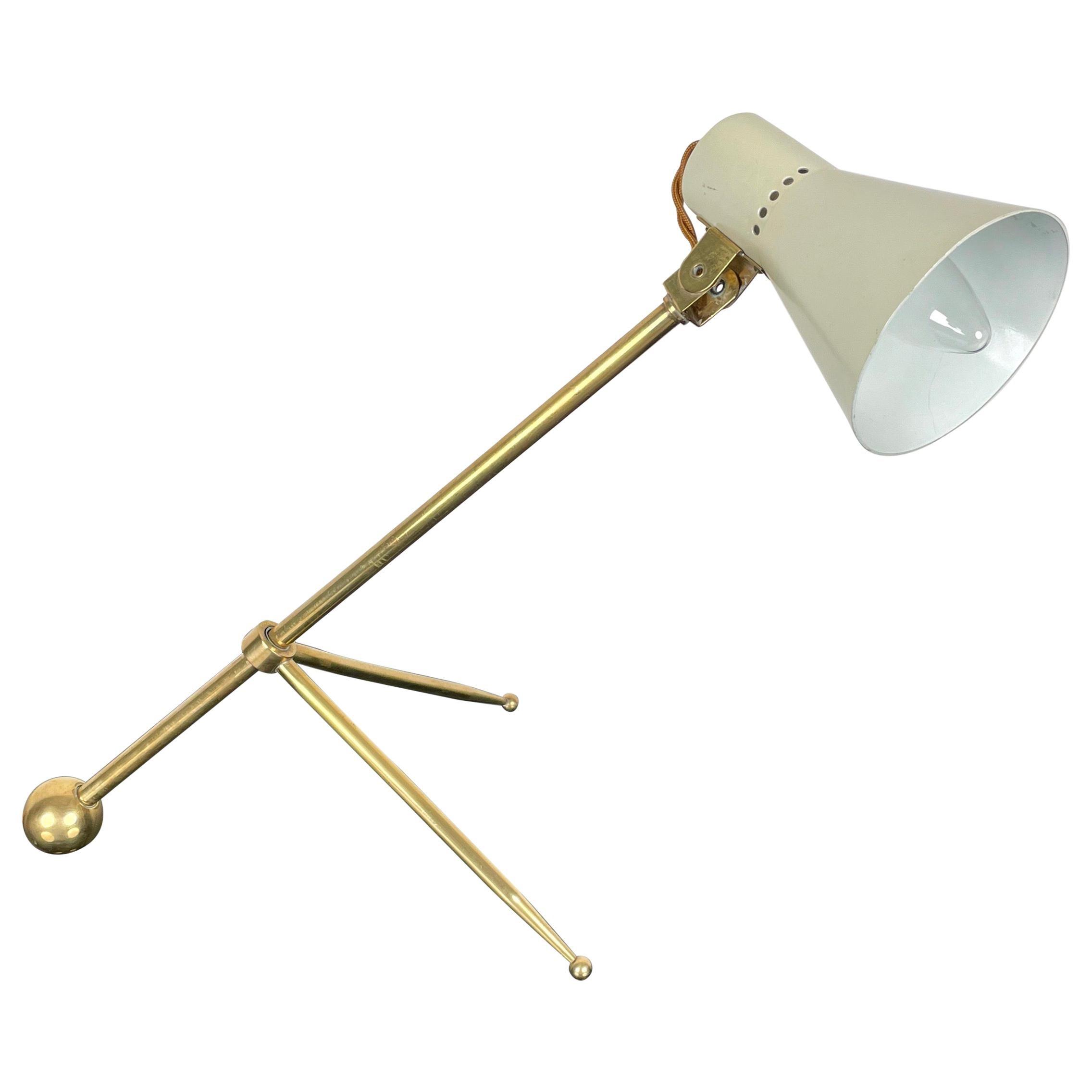 Brass Tripod Desk Table Lamp Attributed to Stilnovo, Italy, 1950s