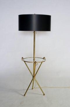Brass Tripod Floor Lamp with Custom Shade