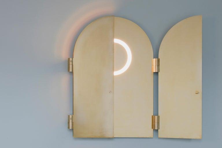 Modern Brass Triptychs Enlighted Mirror, Jesse Visser For Sale