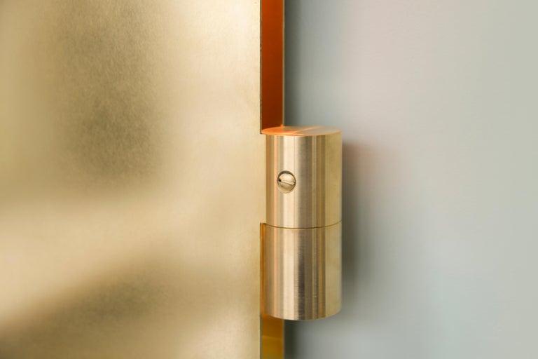 Dutch Brass Triptychs Enlighted Mirror, Jesse Visser For Sale