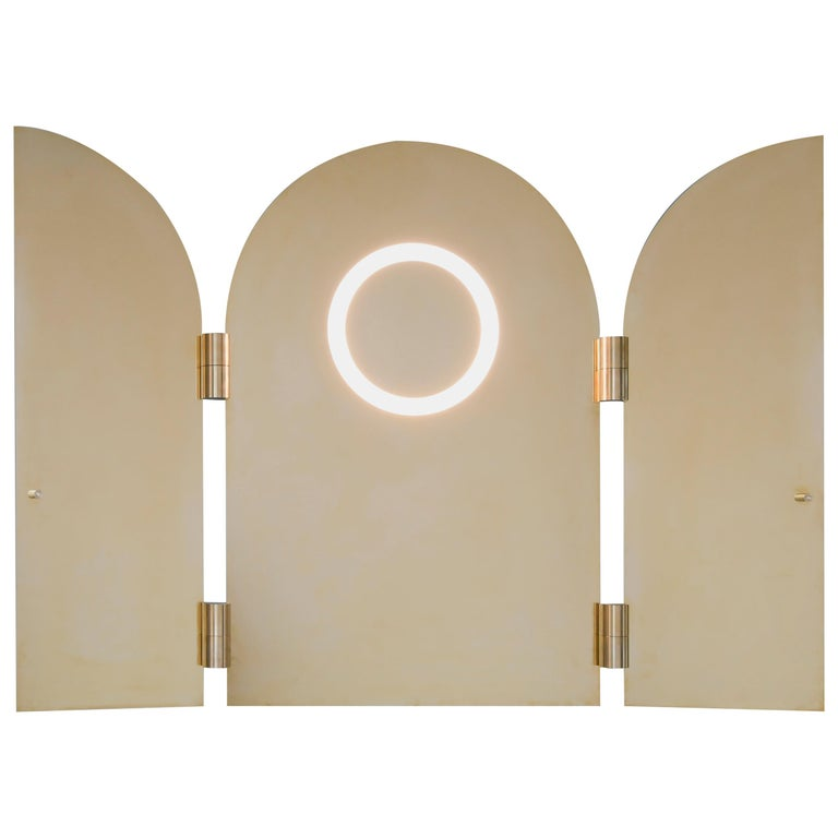 Brass Triptychs Enlighted Mirror, Jesse Visser For Sale