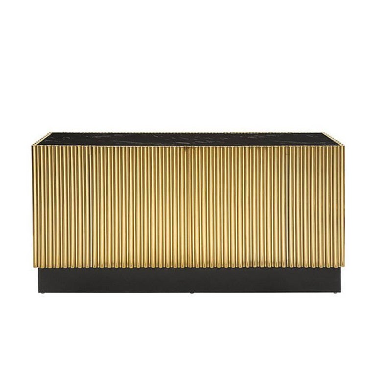 Brass Tubes Ii Sideboard In Gold Finish With Black Marble Top For