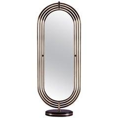 Brass Tubular with LED Floor Mirror