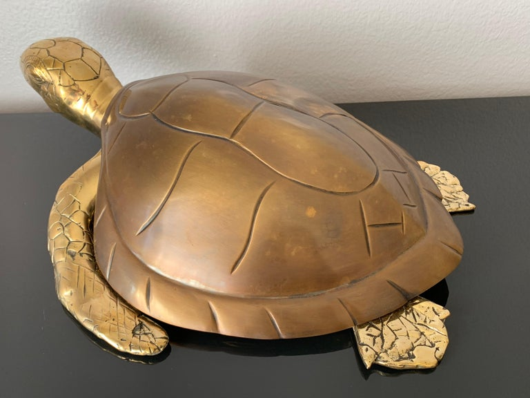 Brass turtle jewelry box or decorative sculpture.