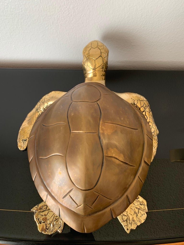 American Brass Turtle Sculpture Jewelry Box For Sale