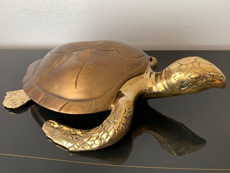 Patinated Brass Turtle Sculpture Jewelry Box For Sale