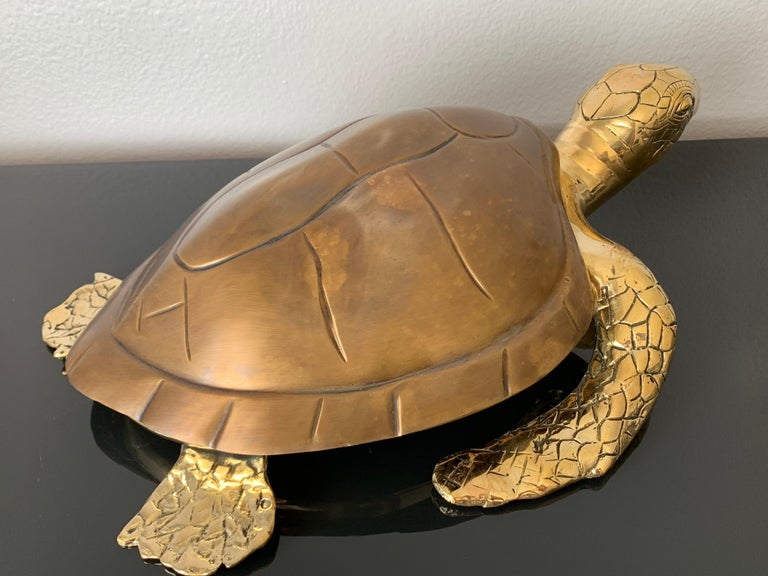 Brass Turtle Sculpture Jewelry Box In Good Condition For Sale In North Hollywood, CA
