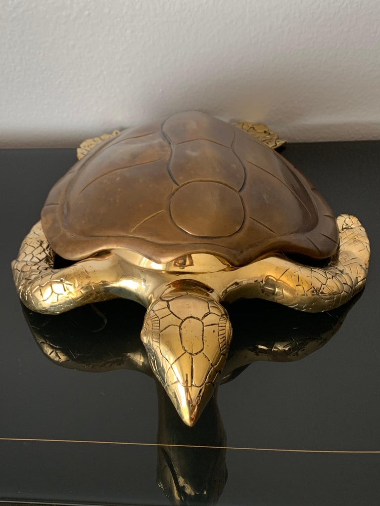 Late 20th Century Brass Turtle Sculpture Jewelry Box For Sale