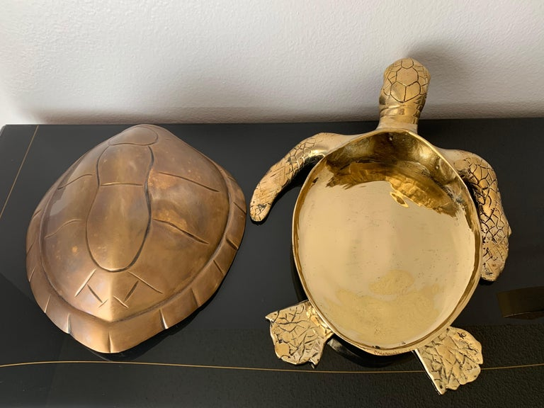 Brass Turtle Sculpture Jewelry Box For Sale 1