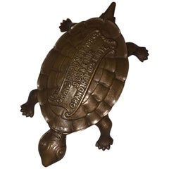 Brass Turtle, Match Holder with Advertising Piece for Furniture, circa 1920s