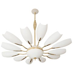 Brass Twelve-Arm Chandelier with Frosted Shades