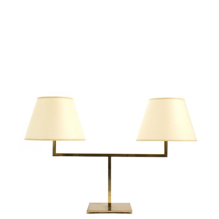 George Hansen Brass Two Arm Library Style Desk Lamp For