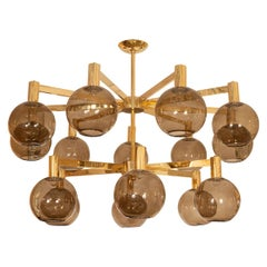 Brass Two-Tier Fifteen-Arm Chandelier with Smoked Glass Spherical Shades
