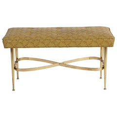 Brass & Upholstered Italian Bench