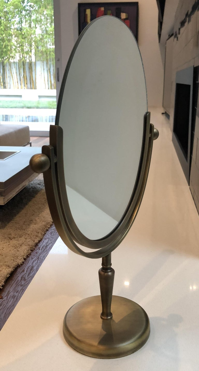 Brass Vanity Mirror by Charles Hollis Jones In Good Condition For Sale In Los Angeles, CA