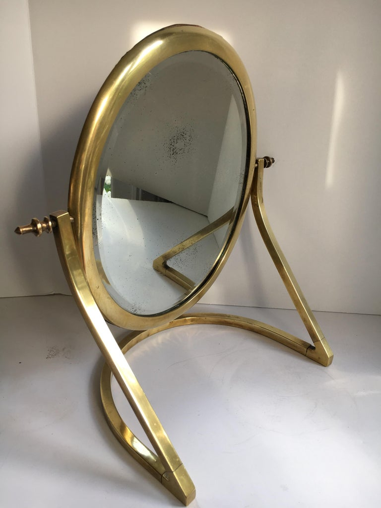 Late Victorian Brass Vanity Mirror For Sale