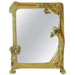 Brass Vanity Mirror in the Art Nouveau Style