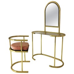 Brass Vanity Table and Chair Hollywood Regency midcentury 1980s Glam Mirror