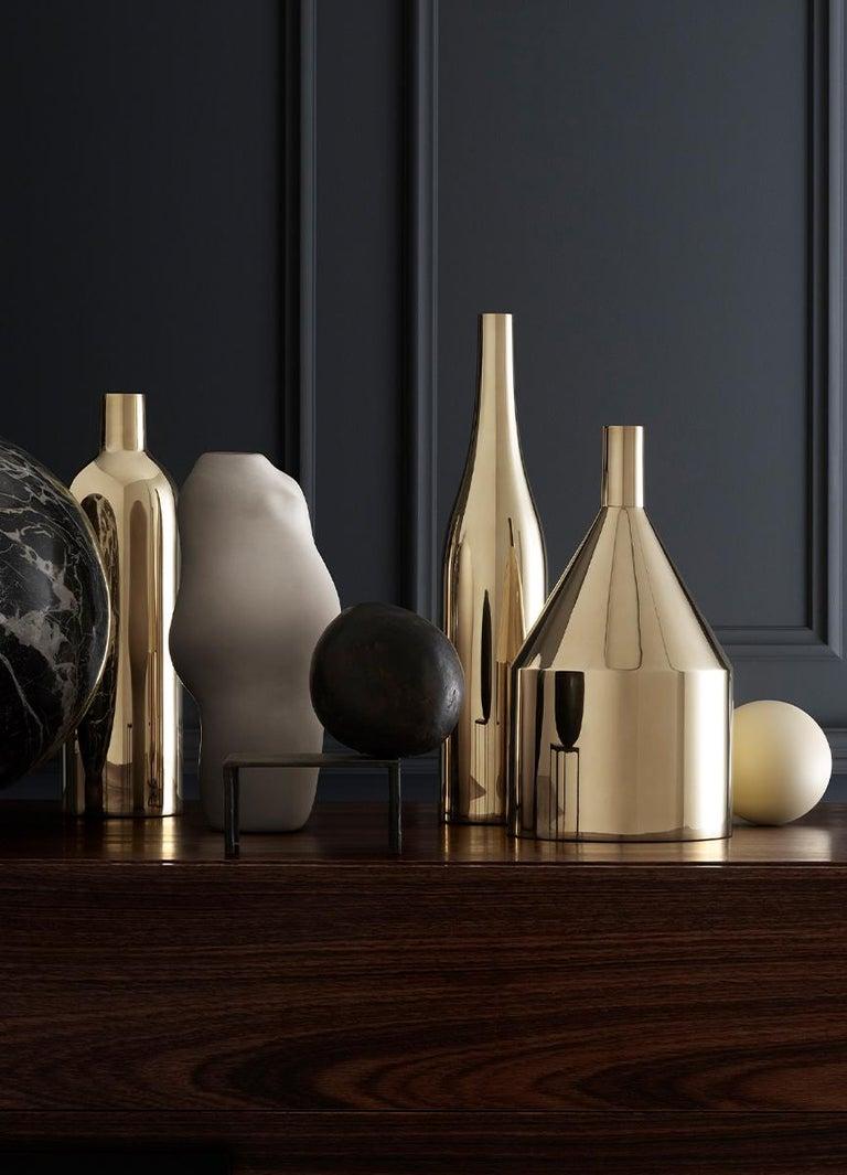 Modern Brass 'Via Fondazza' Vase 'Model C' by Paolo Dell'Elce, Skultuna Sweden For Sale