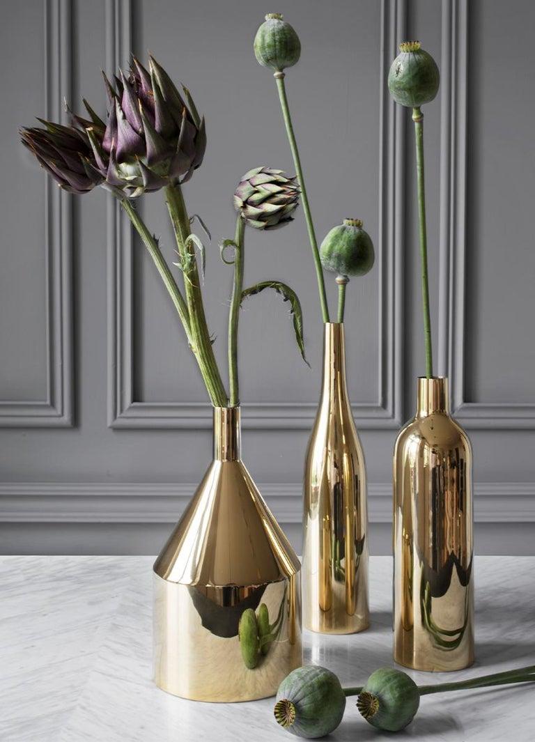Swedish Brass 'Via Fondazza' Vase 'Model C' by Paolo Dell'Elce, Skultuna Sweden For Sale