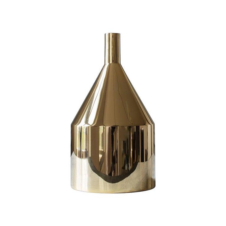 Brass 'Via Fondazza' Vase 'Model C' by Paolo Dell'Elce, Skultuna Sweden For Sale