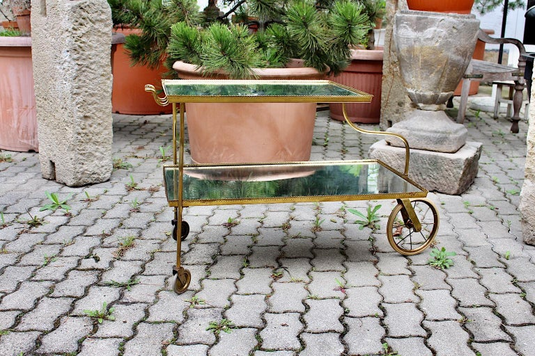 Brass Vintage Bar Cart by Josef Frank for Svenskt Tenn, circa 1938, Sweden In Good Condition For Sale In Vienna, AT