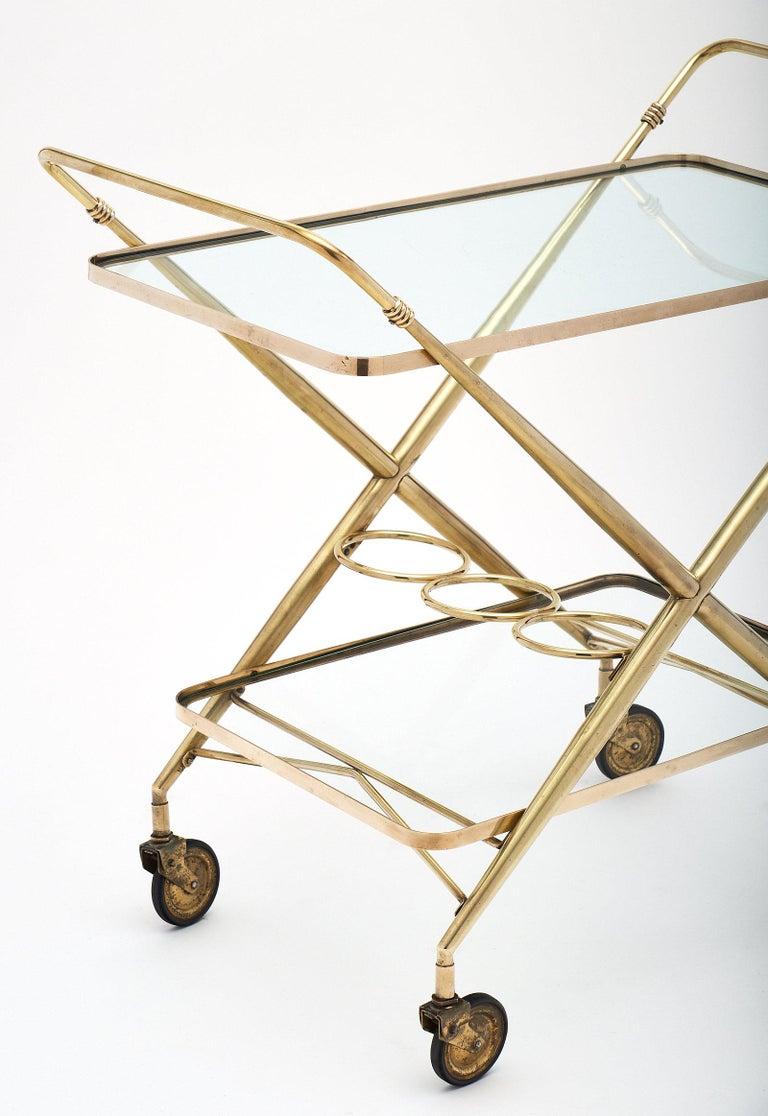 Art Deco Brass Vintage Bar Cart For Sale