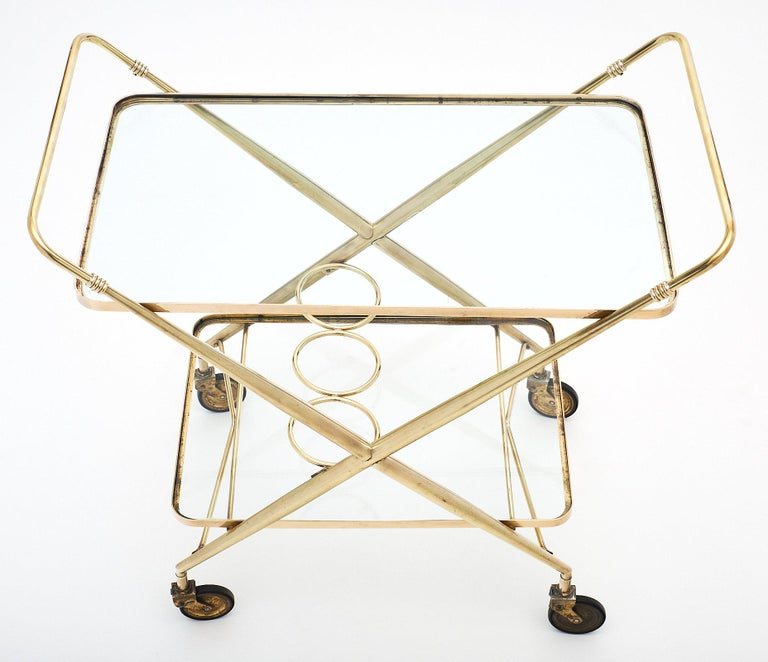Brass Vintage Bar Cart In Good Condition For Sale In Austin, TX