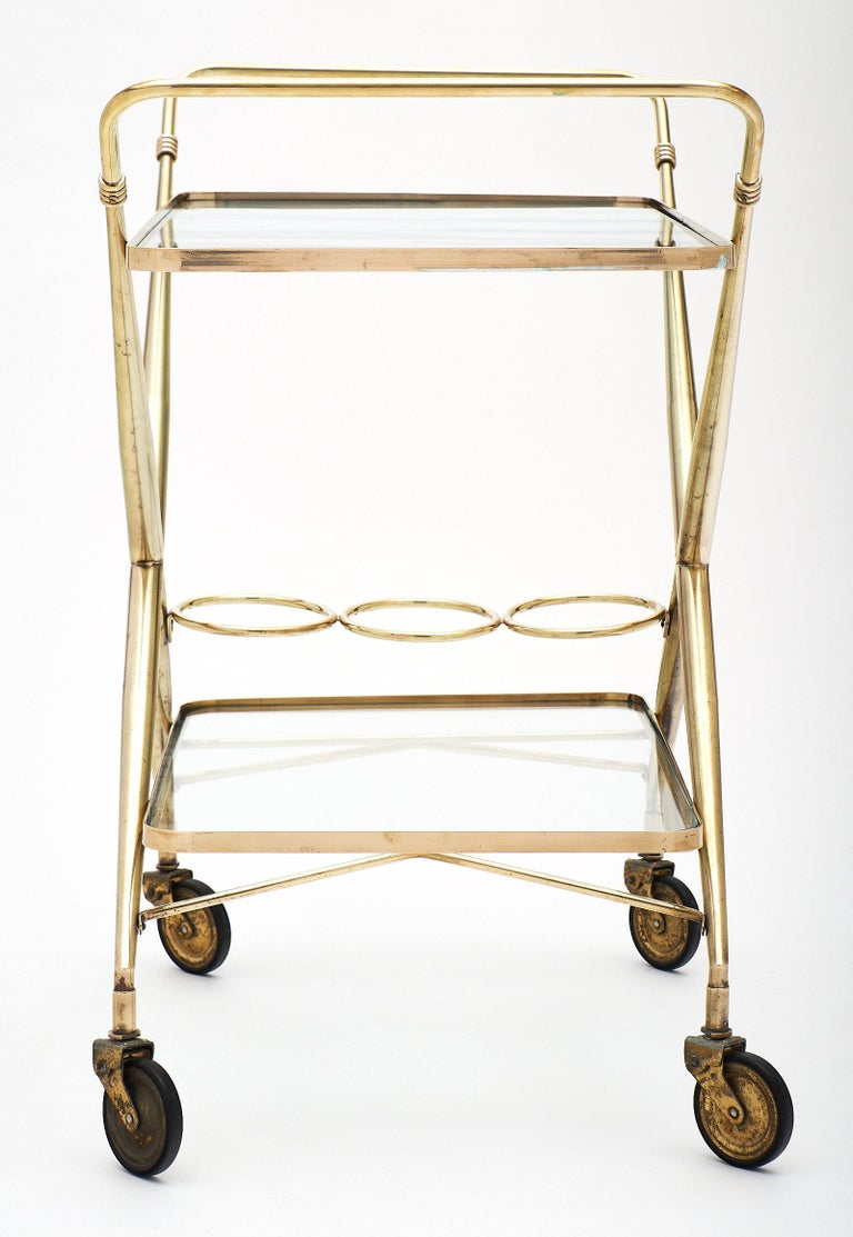 Mid-20th Century Brass Vintage Bar Cart For Sale