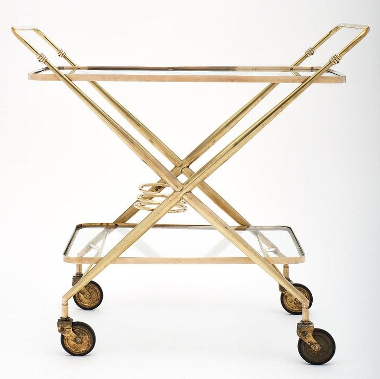 Brass Vintage Bar Cart For Sale 1