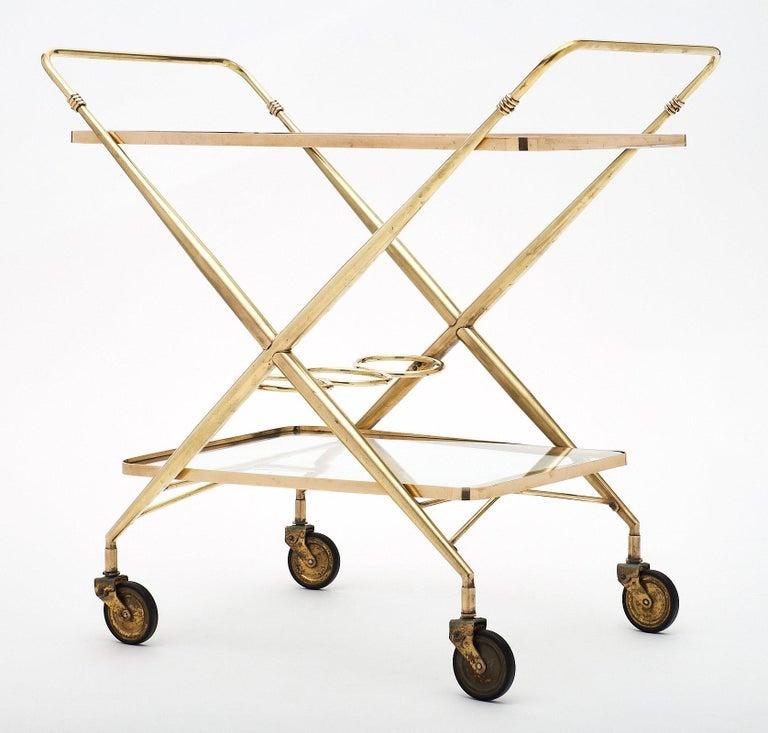 Brass Vintage Bar Cart For Sale 2