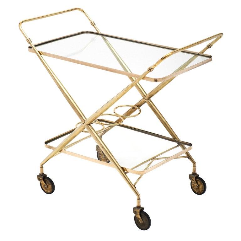 Brass Vintage Bar Cart For Sale