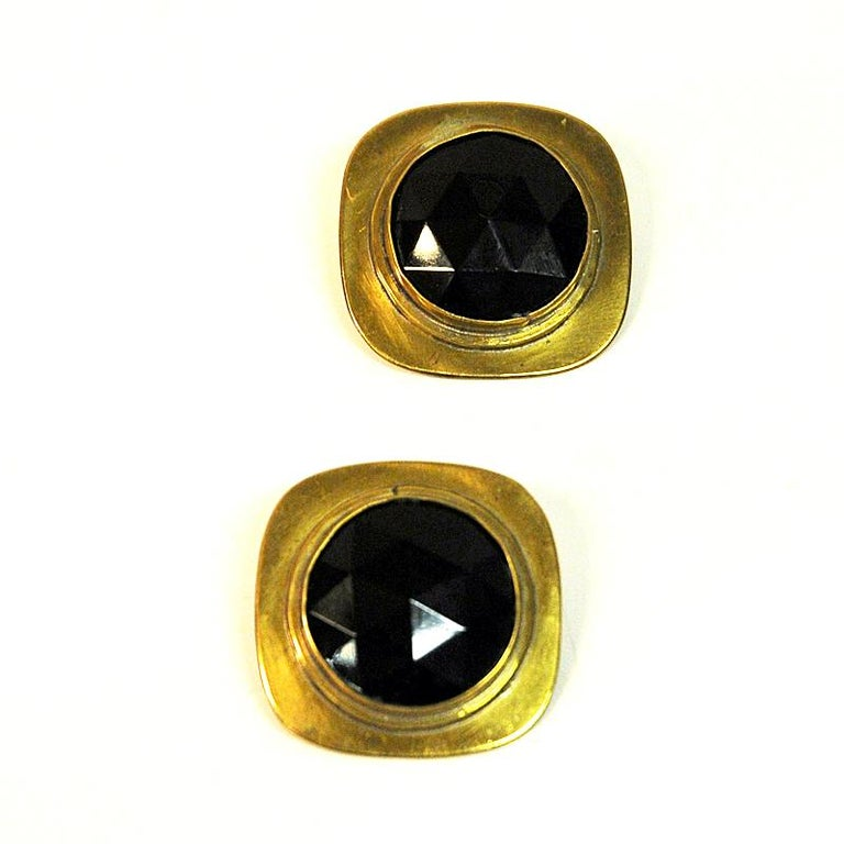 Brass Vintage Clip on Earrings by Anna Greta Eker, Norway, 1960s In Good Condition For Sale In Stockholm, SE