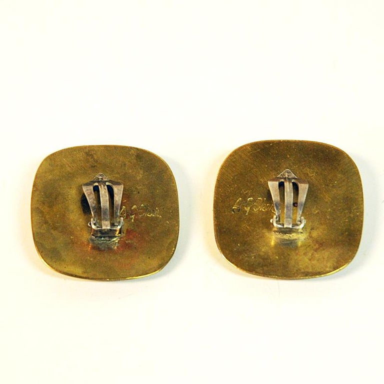 Mid-20th Century Brass Vintage Clip on Earrings by Anna Greta Eker, Norway, 1960s For Sale