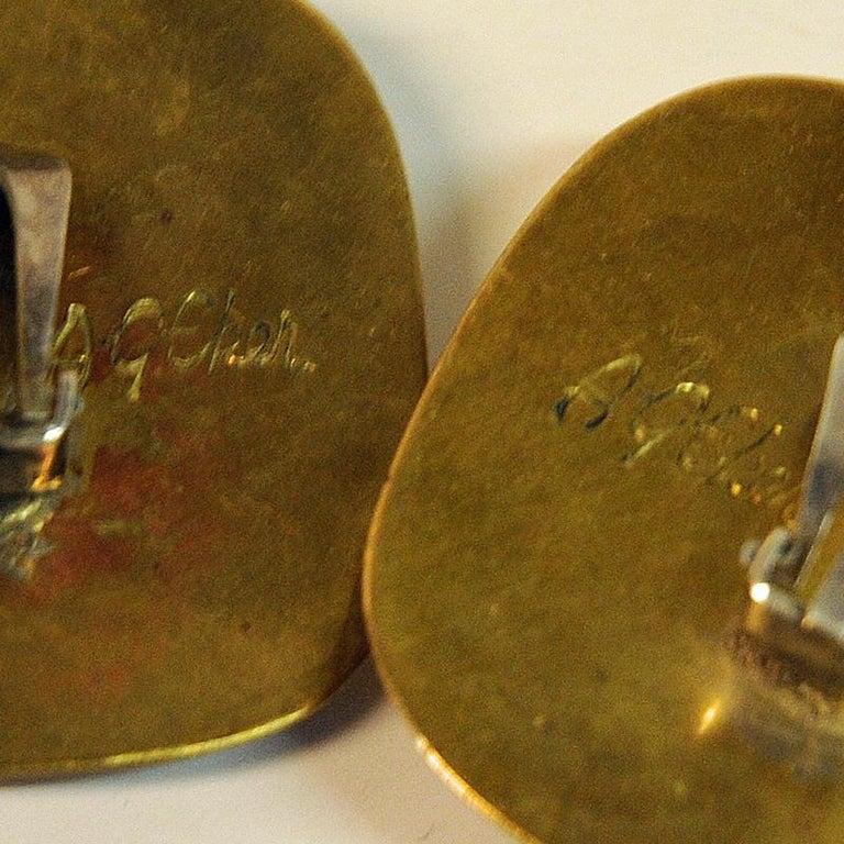 Stone Brass Vintage Clip on Earrings by Anna Greta Eker, Norway, 1960s For Sale