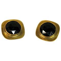 Brass Vintage Clip on Earrings by Anna Greta Eker, Norway, 1960s