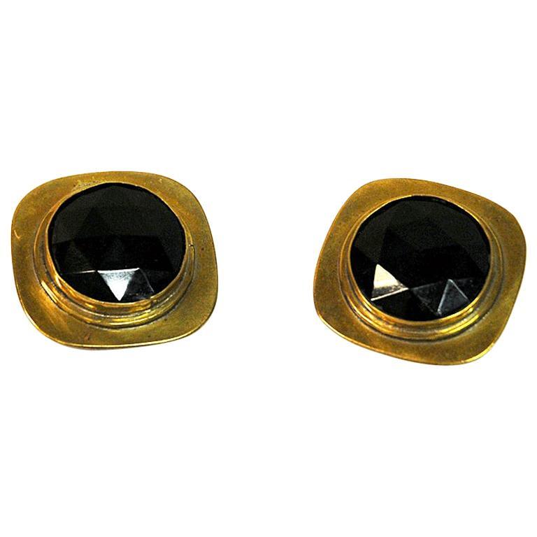 Brass Vintage Clip on Earrings by Anna Greta Eker, Norway, 1960s For Sale