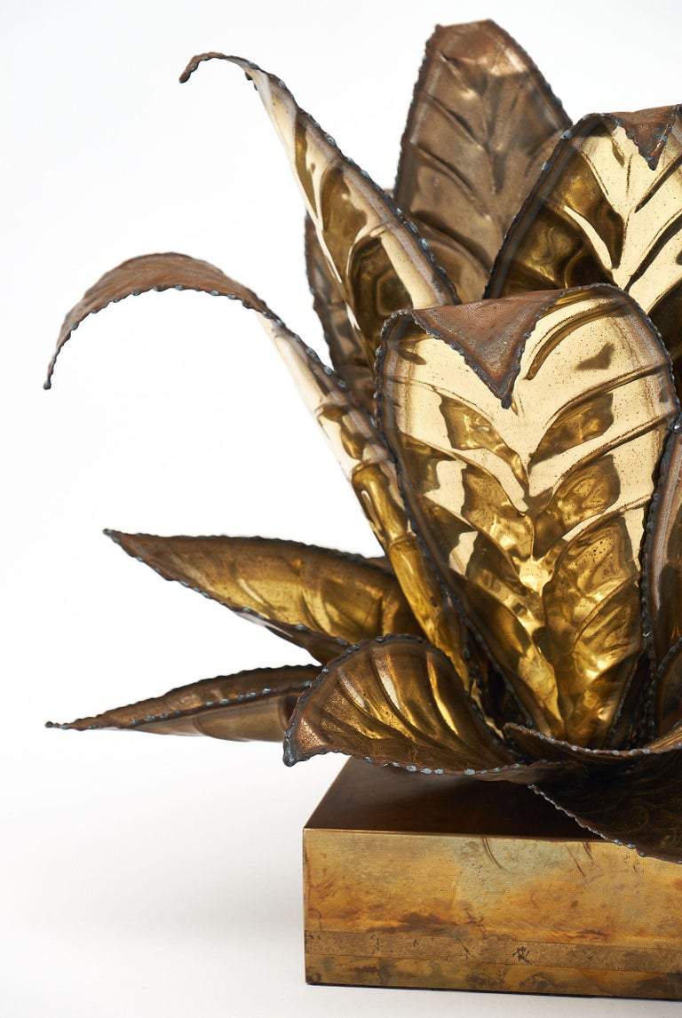 Mid-Century Modern Brass Vintage French Agave Lamp For Sale