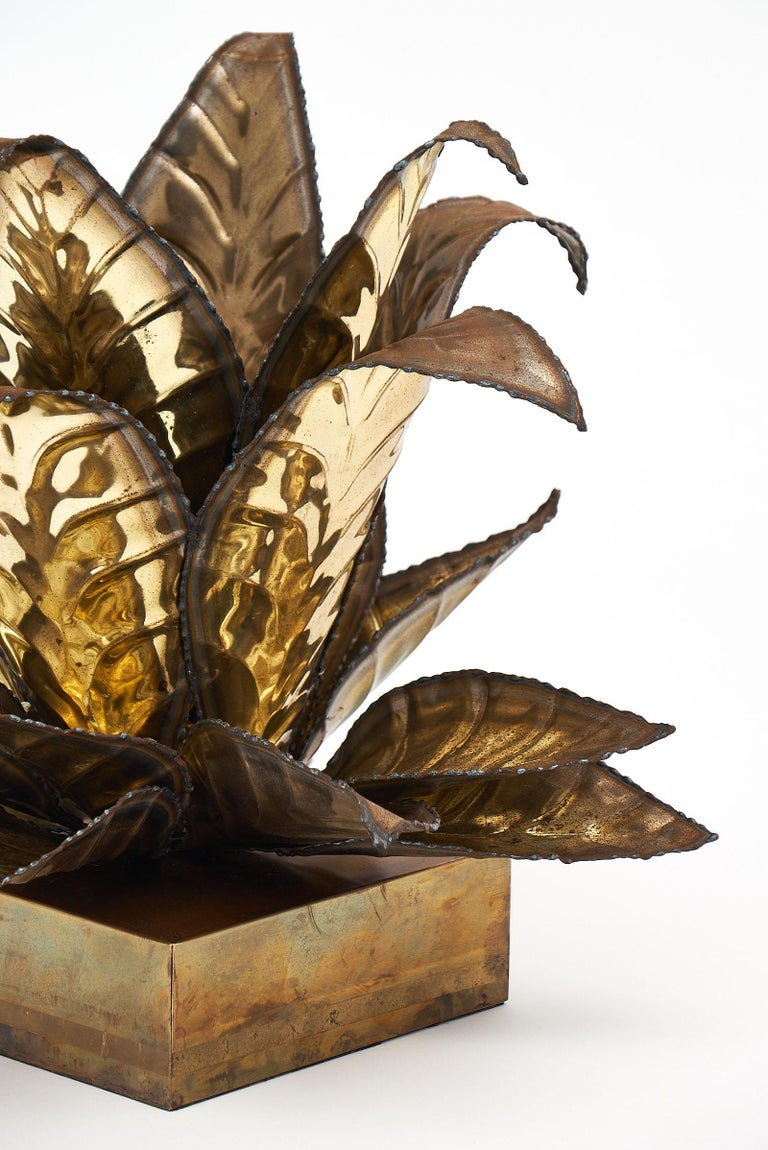 Brass Vintage French Agave Lamp In Good Condition For Sale In Austin, TX