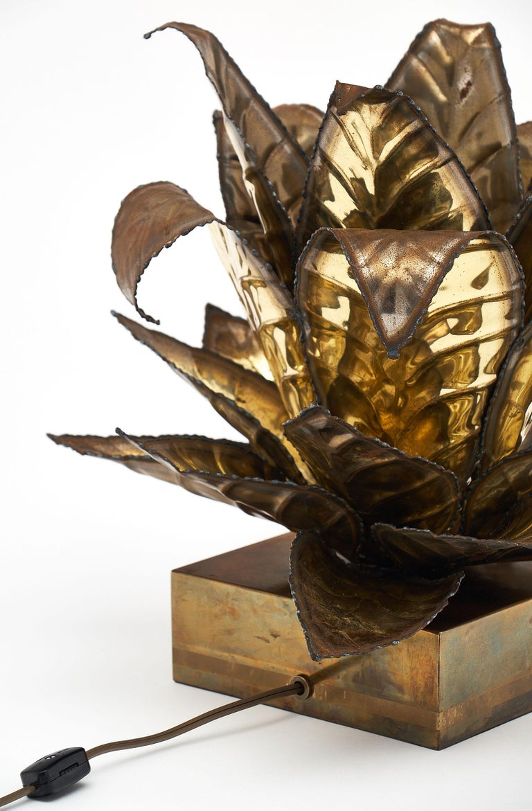 Brass Vintage French Agave Lamp For Sale 3