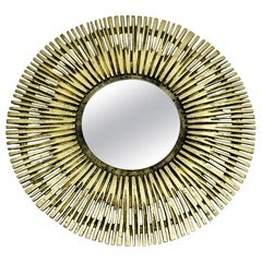 Brass Vintage Round Design Sunburst Mirror / Wall Mirror, France, 1960s