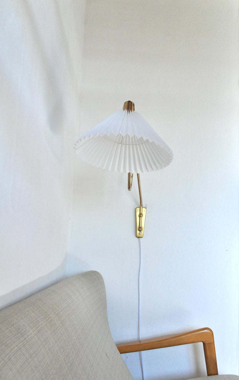 Scandinavian Modern Brass Wall Lamp by Norwegian Astra in the 1950s For Sale