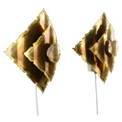 Brass Wall Lamps, Type L10 'Pair' by Holm Sorensen in the 1970s