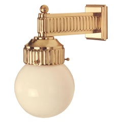 Brass Wall Light with Art Deco Pattern and Opaline Glass, Re-Edition