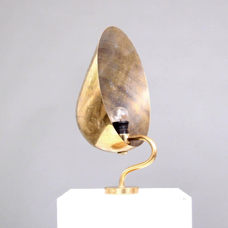 20th Century Brass Wall Light with Perforated Shade by Carl-Axel Acking, Sweden, 1940s For Sale