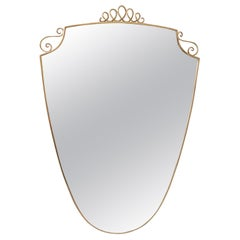 Brass Wall Mirror in the Shape of a Shield in the Style of Gio Ponti, Italy